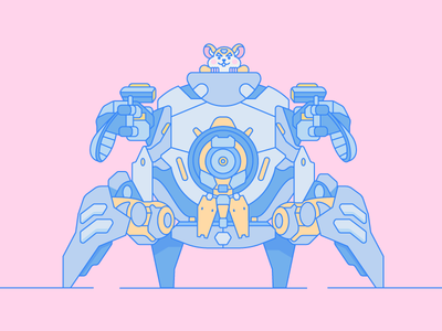 Wrecking Ball artwork game graphic overwatch mech flat design digital illustration