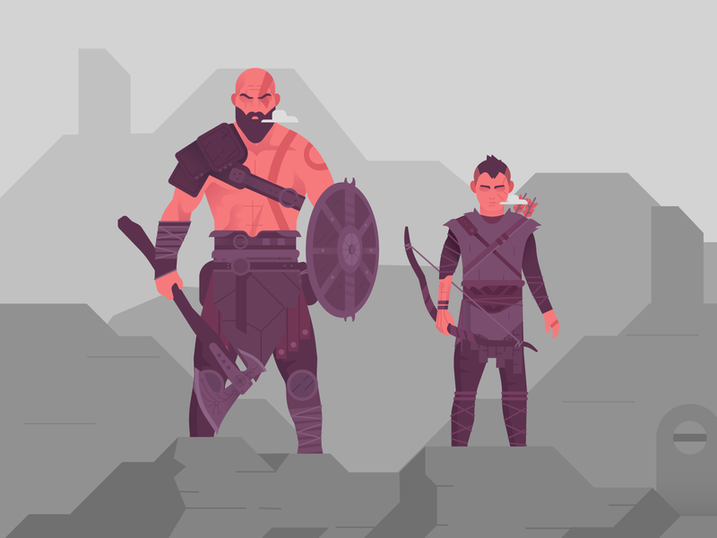 God of War shot graphic design atreus mountain dribbble kratos digital artwork design illustration god of war