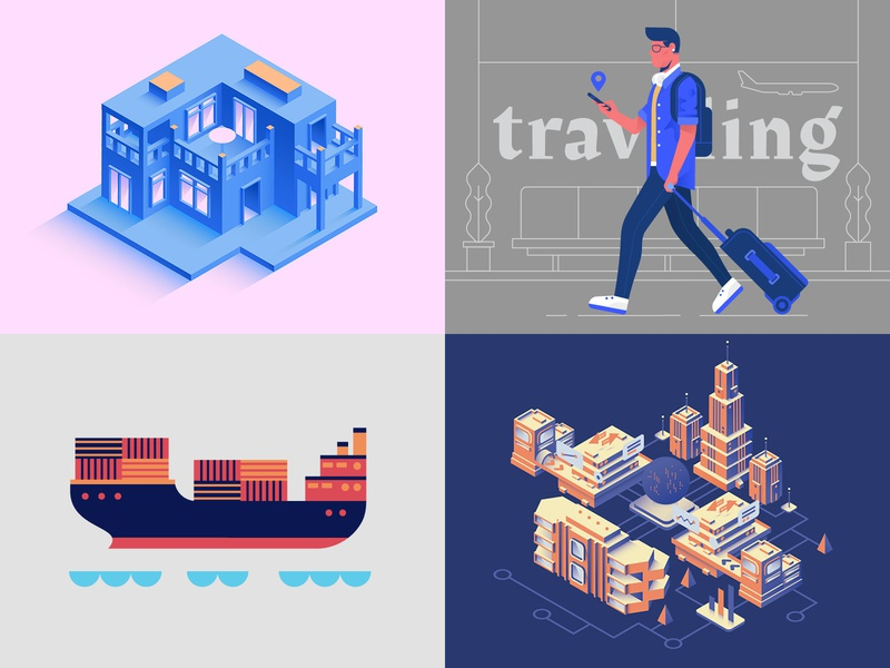 2018 Top 4 isometric city artwork digital vector graphic design icon dribbble shot illustration