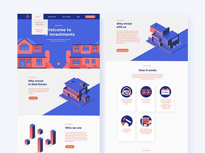 Real Estate Website ux digital shot ui vector real estate isometric homepage website webdesign web graphic design illustration