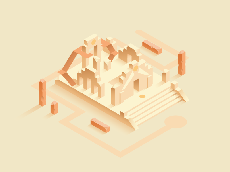Sun Temple 3d vector digital shot graphic design dribbble design isometric artwork illustration