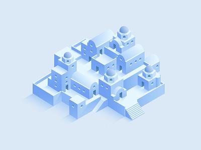 Santorini city artwork 3d vector graphic design dribbble digital design isometric illustration