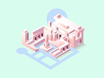 Temple building temple vector dribbble art 3d isometric design illustration