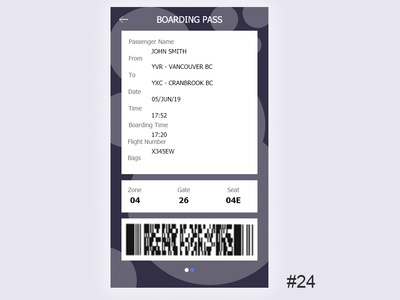 Daily UI - Boarding Pass 024