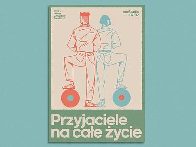 Przyjaciele na całe życie x barStudio gigposter doodles typography vintage branding print illustration design
