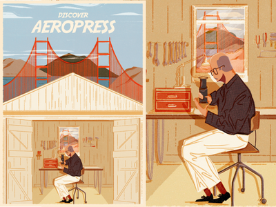 Aeropress typography adventure graphics outdoor vintage doodles print branding design illustration