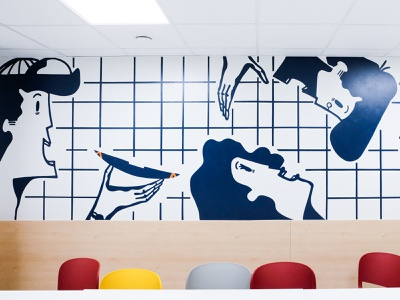 Illustrations for Ibis Hotel handpainted paarvaigalpaintings hotel decor wall design outdoor print branding illustration