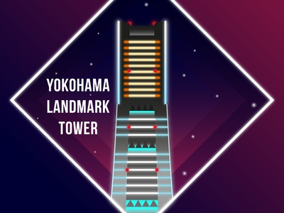 Yokohama Landmark Tower At Night Icon
