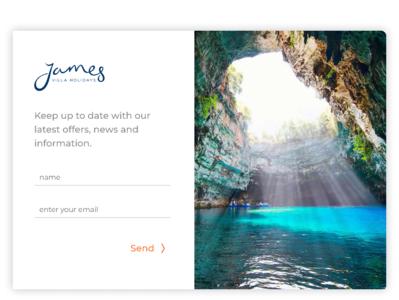 James Villa signup modal james villa holidays ux branding typography blue ui web design modal box