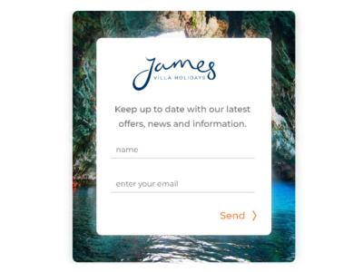 Mobile signup modal for James Villa Holidays signup modal modal box james villa holidays ux ui web design design