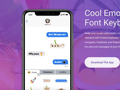 "Fontera ""Cool Emoji and Font Keyboard"" emoji app font app keyboard emoji mobile ui ux ui mobile app design app design product design user interface user experience"