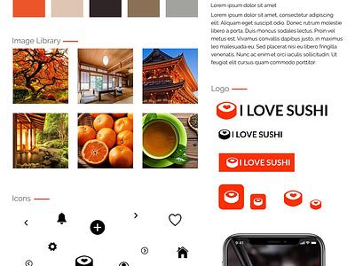 I Love Sushi App - Style Tile user interface branding brand identity sushi styleguide restaurant app product design mobile ui mobile app design app design ui user experience