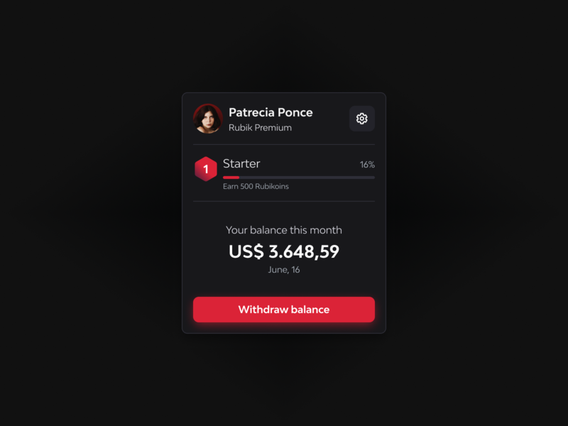 Profile Card for Financial Dashboard | Dark financial dashboard finance ui design interface figmaafrica figma design figma card icons icon dark ui desktop dashboad