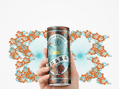 OHANA Beer Label parrot hawaii drink guitar vector illustration packaging branding beer can beer