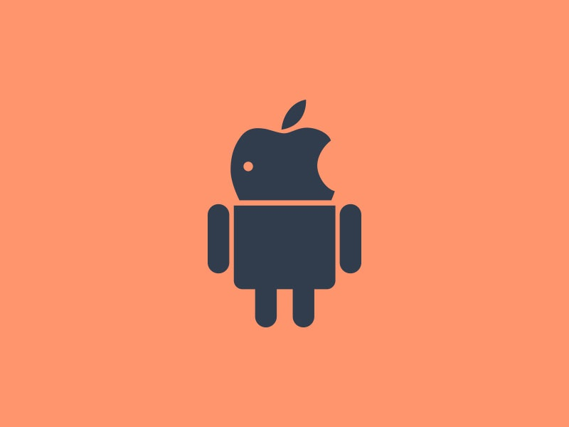 Apple or Android logo icon android apple