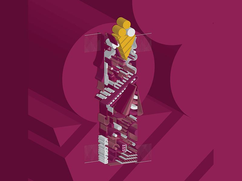 36 Days of Type / Letter I 3d story alphabet illustration art type typeface typography letter 36days-d 36daysoftype icecream