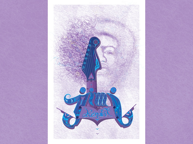 Purple Haze music song guitar illustration poster jimihendrix purplehaze