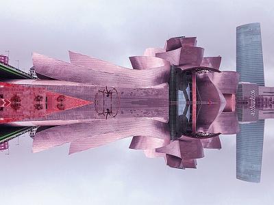 Guggenheim Museum / Spain spaceship vertical reflection spain guggenheim museum