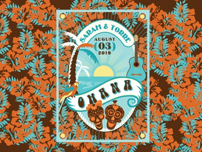 OHANA BEER / Front Side ocean sea hawaii sun skull palm logo guitar parrot design beer