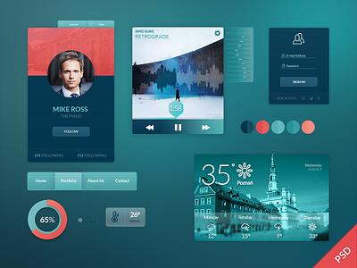 Freebie PSD: UI Kit free freebie psd weather widget profile login music player ios navigation ui