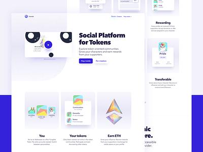 Tok'n'talk cryptocollectibles social landing page token blockchain crypto ethereum