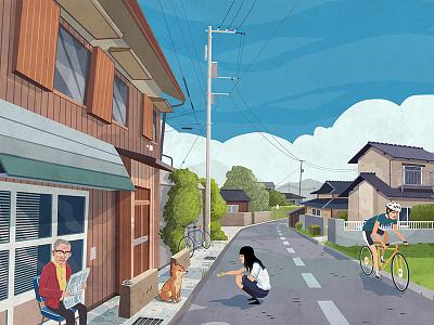 Japan Streets illustration japan rural dog bike drawing street