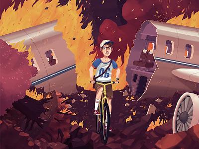 Crash illustration pane crash kid bike night