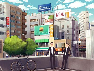 Yakuza Summer illustration yakuza japan city urban