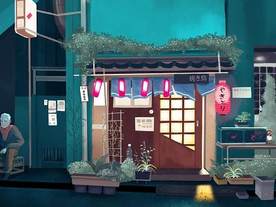 Shopfront drawing night yakitori shopfront tokyo japan illustration
