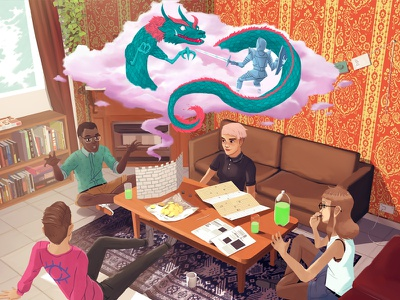 Assaulting The Dragons Keep drawing game play dnd rpg illustration