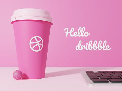 Hello Dribbble ! bonito justine first shot typography logo design colors render web illustration modeling blender 3dmodeling 3d