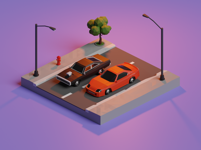 Fast & Furious low poly isometric render illustration blender 3d