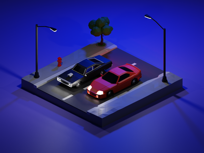 Fast and Furious at night isometric low poly colors render illustration blender 3d