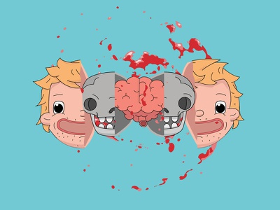 Face Skull Brain Explosion icon icons vector 2d flat character drawing illustration