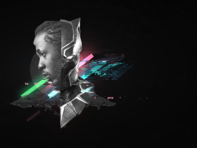 Black Panther and Kendrick collage black panther marvel 80s neon glitch