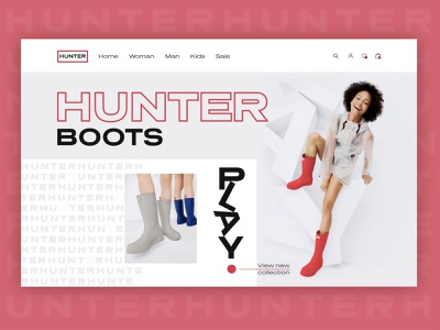 Hunter Boots Online Shop freelance typography design creative design inspiration color clean onlinestore online shop commerce website webdesign