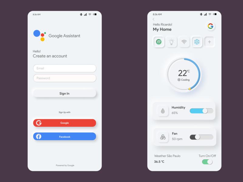 Google App Assistant Concept Soft UI