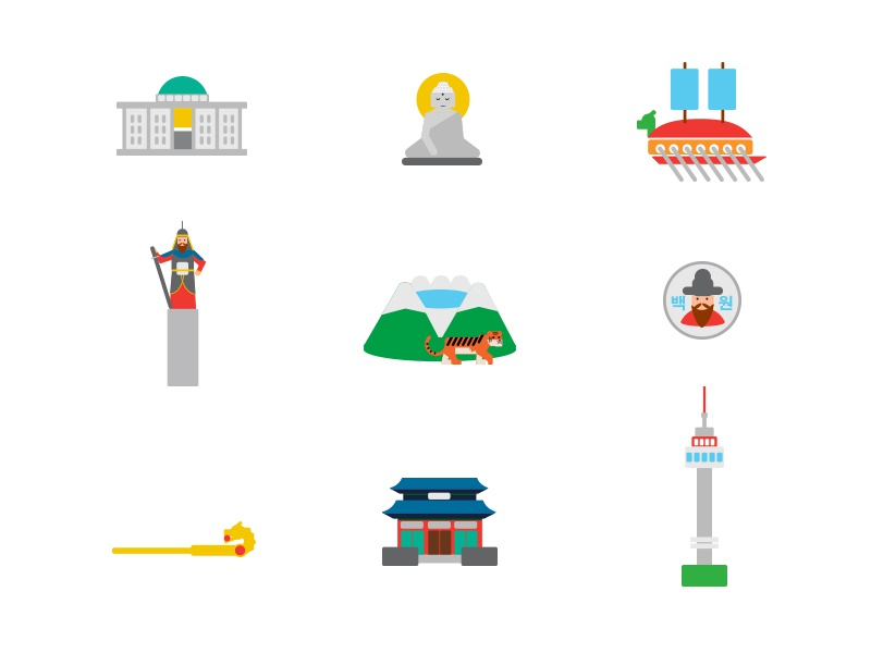 Icons of Korea coin korea icons vector illustration asia colors icon buddah tower tiger building