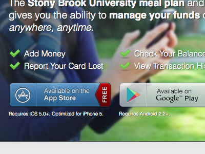 SB Campus Card App Landing Page landing page app download button checklist university