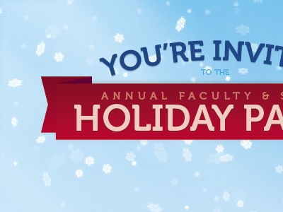 Holiday Party Invite holiday party invite invitation snow winter holiday ribbon