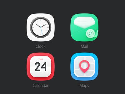 4 Icons [PSD] theme icon clock calendar mail map psd free