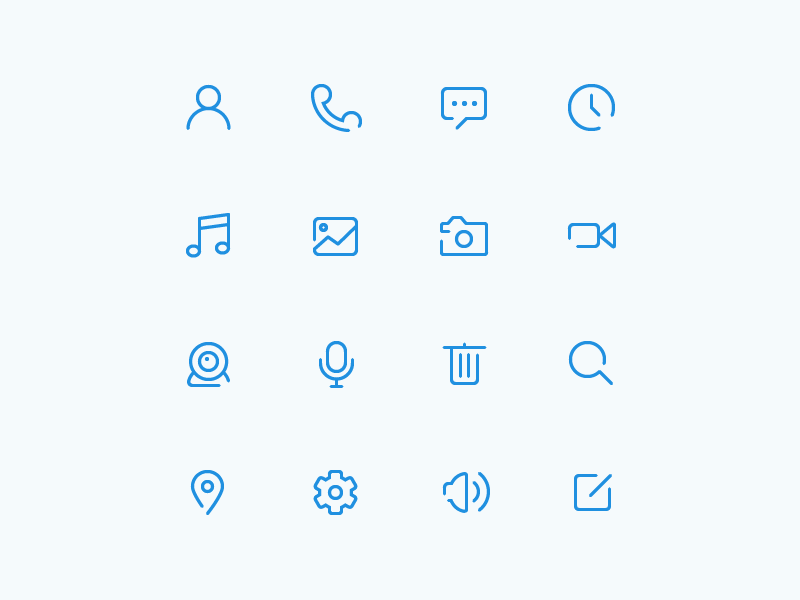 Free Glyphs [AI] glyph delete search gallery music location clock message phone ai free icon
