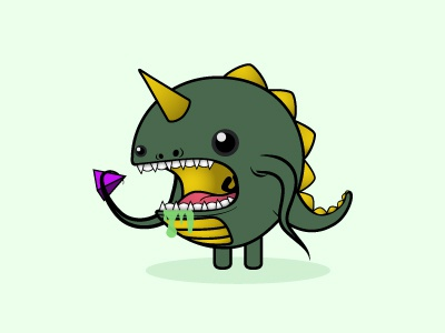 Squibble character cute monster illustration lizard eating squid yum