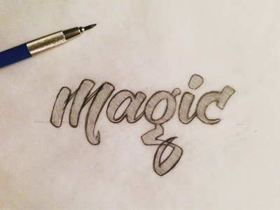 Magic Lettering lettering typography hand drawn type script sketch process