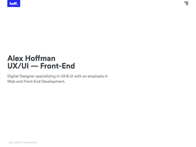 hoffmander.com homepage web design portfolio