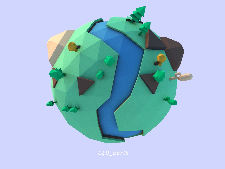 Low Poly Earth lowpoly earth c4dart art design ui