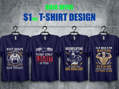 Bodybuilder/Gym T-Shirts Design Bundle