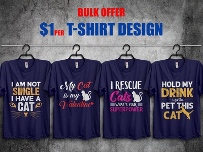 Funny Cat T-Shirt Designs Bundle