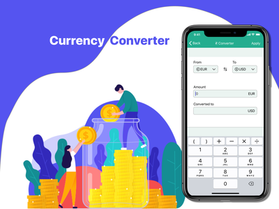 #DailyUi #004 Currency Converter flat illustration icon logo app web ui ux @dailyui