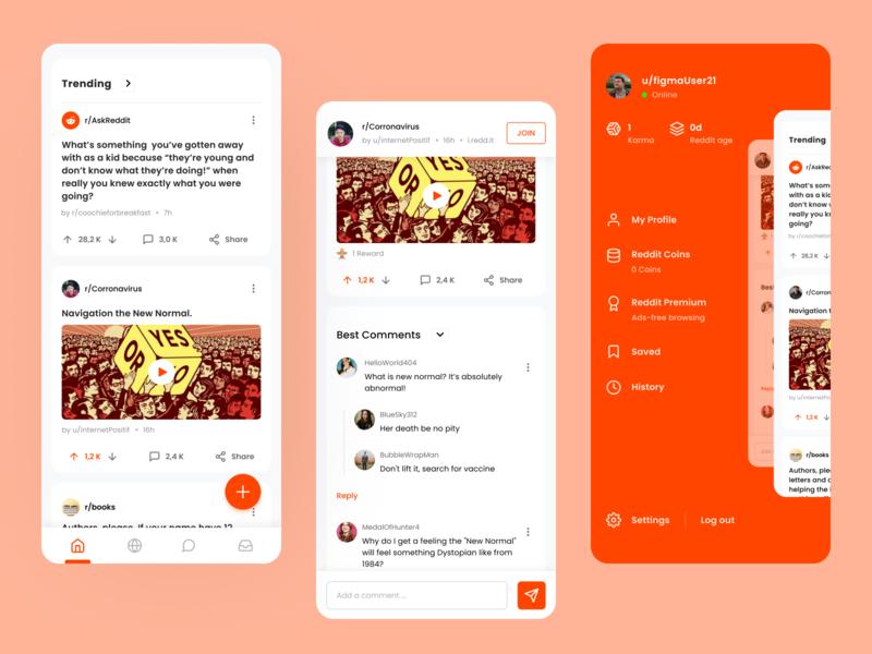 Reddit Redesign for Mobile - Uplabs Challenge uplabschallenge uplabs redditredesign reddit ui  ux uiux ui mobile ui mockup design dailyui redesign mockup mobile app design app